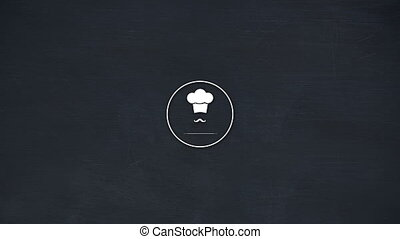 Vector icon of chef hat with mustache against black background 4k