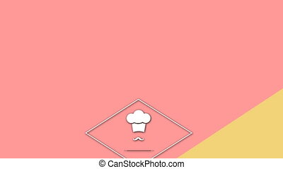 Vector icon of chef hat with mustache against colored background 4k