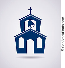 vector icon of church building - vector symbol or icon of...