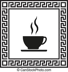 Vector icon of coffee in a frame with a Greek ornament