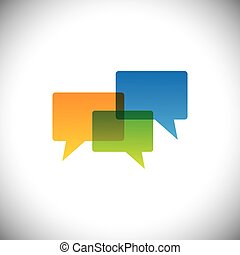 vector icon of empty colorful chat icons in transparent colors