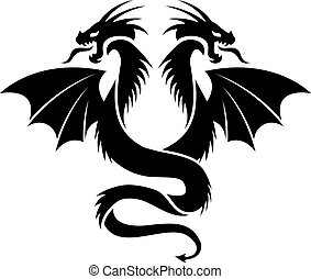 vector icon of flying two headed dragon, black and white...