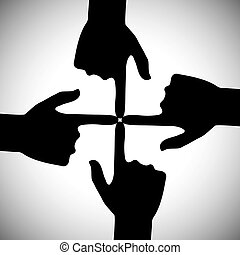 vector icon of four hands pointing each other - concept of unity