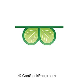 Vector icon of glasses with leaves