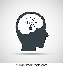 Vector icon of human head with a light bulb