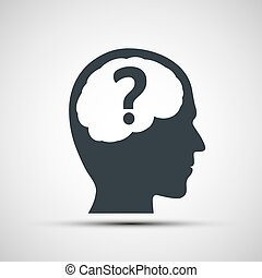 Vector icon of human head with a question mark