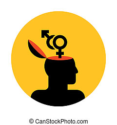human head with gender symbols - vector icon of human head ...