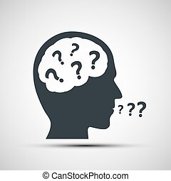 Vector icon of human head with question marks