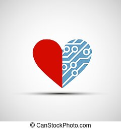 Vector icon of human heart and circuits