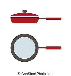 Vector icon of lid pan, side view and view from above
