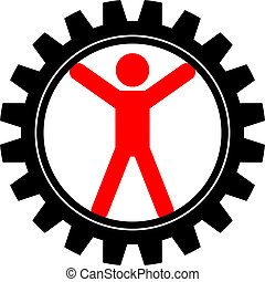 man in cog-wheel - Vector icon of man in cog-wheel