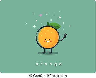 Vector icon of orange, fruit funny cartoon character