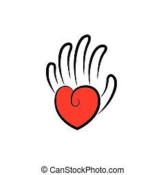 vector icon of palm in shape of hand with line fingers