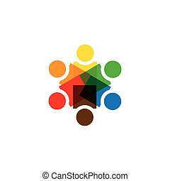 vector icon of people together - sign of unity, partnership