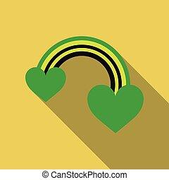 Vector icon of rainbow heart. Love sign.