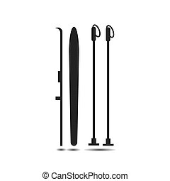 Vector icon of skis with ski poles with shadow