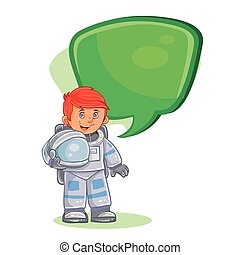 Vector icon of small child astronaut in a space suit and helmet in hand.