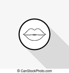 Vector icon of the lips with a long shadow on the background