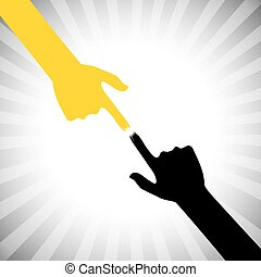 vector icon of two hands touching each other with compassion, ca