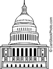 Vector icon of united states capitol hill building...