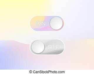 Vector icon On and Off Toggle switch holographic art button