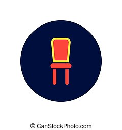 Vector icon on the white backgrounds in circles armchair