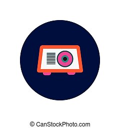Vector icon on the white backgrounds in circles radio