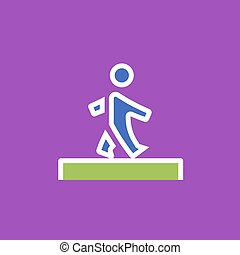 Vector icon or illustration showing walking human in outline style