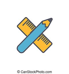 Vector icon or illustration with crossed pencil and ruler tool in outline style