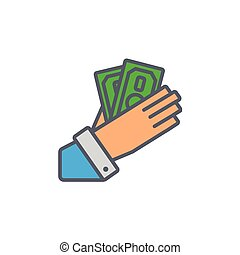 Vector icon or illustration with hand holding cash in black color