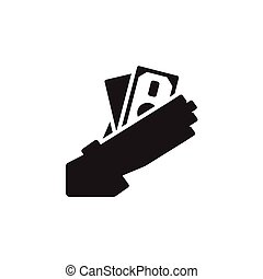 Vector icon or illustration with hand holding cash in outline style