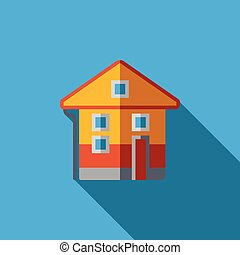 Vector icon or illustration with house in flat design style...