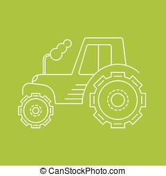 Vector icon or logo of the tractor on a green background
