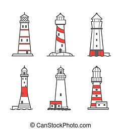 Vector icon or logo set of lighthouses