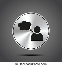 vector icon person with Speech metallic isolated on dark background