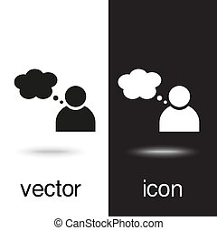 vector icon person with Speech on black and white background