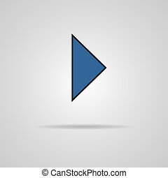 Vector icon Play button web icon with shadow