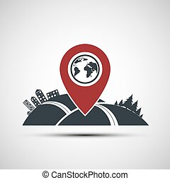 Vector icon pointer location on the map