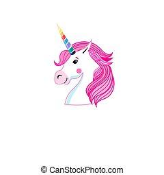 Vector icon portrait of unicorn
