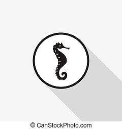 Vector icon seahorse with a long shadow on the background