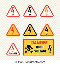 Vector icon set danger high voltage on isolated transparent background. Warning sign with skull pattern and arrow. Vector illustration.