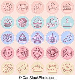 Vector icon set hand drawn colorful cakes, tarts, cupcakes, desserts, bakery.  poster or postcard design, template for dessert menu in cafe.