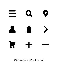 Vector icon set in flat design. Ui social icon set isolated for web or app design.
