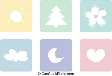 Vector icon set isolated on white