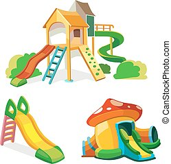 vector icon set of children playground. Illustrations in...