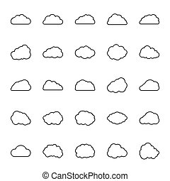 Vector icon set of clouds in line style.
