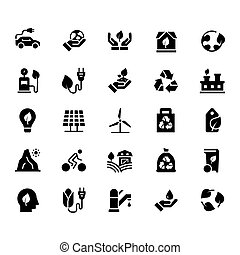 Vector icon set of ecology in flat style.