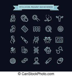 Vector icon set of fertilization, pregnancy and motherhood.