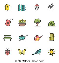 Vector icon set of garden tools