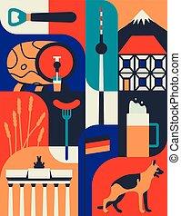 Vector icon set of Germany's symbols. Travel illustration with german landmarks, food